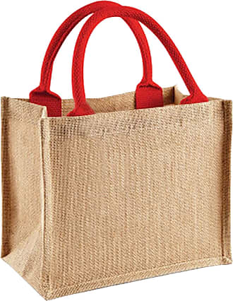 Westford Mill Jute Mini Gift Bag (6 Litres) (One Size) (Natural/Bright Red)