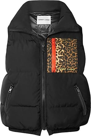 Sandy Liang Primrose Appliquéd Quilted Shell Down Vest - Black