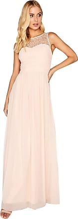 Little Mistress Grace Nude Embellished Neck Maxi Dress 10 UK Nude