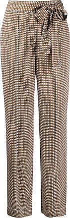 Diane Von Fürstenberg Calça pantalona com amarração na cintura - Marrom