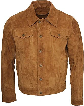 Infinity Mens Trucker Casual Tan Goat Suede Leather Shirt Jeans Jacket 2XL