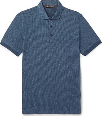 Loro Piana Puppytooth Virgin Wool And Cotton-blend Polo Shirt - Blue