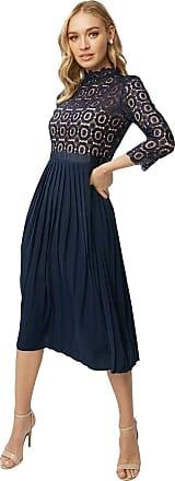 Little Mistress Alice Navy 3/4 Sleeve Crochet Top Midi Dress with Pleated Skirt 6 UK Navy