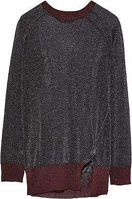 Zoe Karssen Zoe Karssen Woman Two-tone Metallic Stretch-knit Top Black Size XS