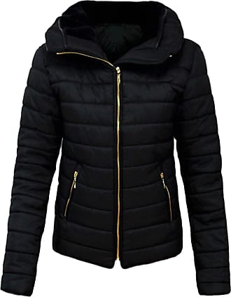 Parsa Fashions Malaika Ladies Quilted Padded Puffer Bubble Fur Collar Warm Thick Womens Jacket Coat - Avaiable in PLUS SIZES (Extra Small to XXL) (XXXX-Large, Black)