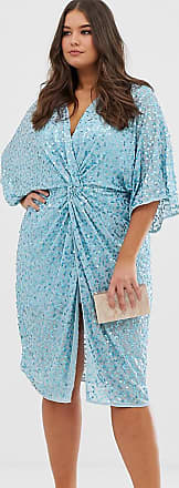 Asos Curve ASOS DESIGN Curve - Midi-Kimonokleid mit Knotendetail vorne und verstreutem Paillettenbesatz-Blau