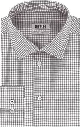 Unlisted by Kenneth Cole Mens Check Dress Shirt, Grey, 16-16.5 Neck 36-37 Sleeve (Large)