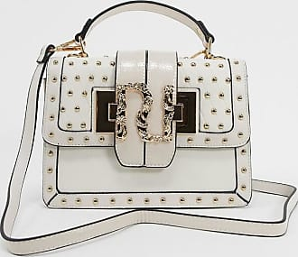 River Island structured across body bag with studding detail in off white
