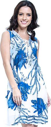 d96676c0c 101 Resort Wear Vestido Evasê Crepe 101 Resort Wear Estampado Folha Azul