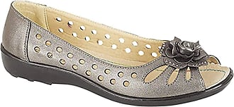 Boulevard Ladies Punched Open Toe Flower Trim Casual PU Sole Pewter size 8 UK