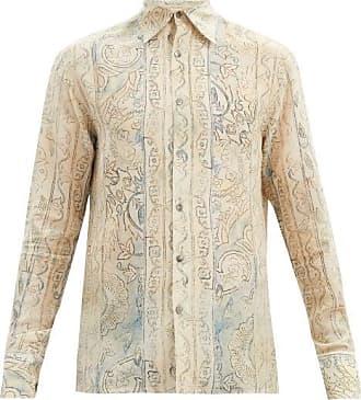 73 London Floral-print Silk Shirt - Mens - Cream
