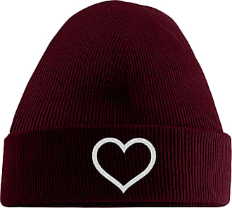 HippoWarehouse Simple Heart Embroidered Beanie Hat Maroon