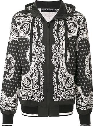 Dolce & Gabbana Moletom de capuz com zíper e estampa de bandana - Preto