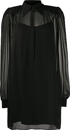 John Richmond Vestido de seda com cinto - Preto