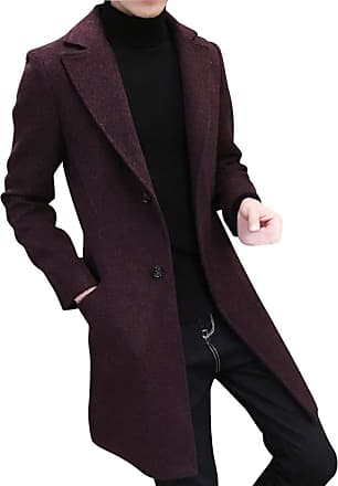NPRADLA Men Fashion Casual Daily Formal Slim Single Breasted Figuring Overcoat Long Wool Solid Button Turn-Down Collar Jacket Outwear Plus Red