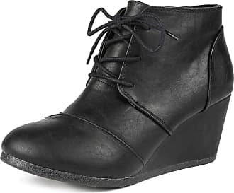 Dream Pairs Tomson Womens Casual Fashion Outdoor Lace Up Low Wedge Heel Booties Shoes Black PU Size 9.5 M US / 7.5 UK