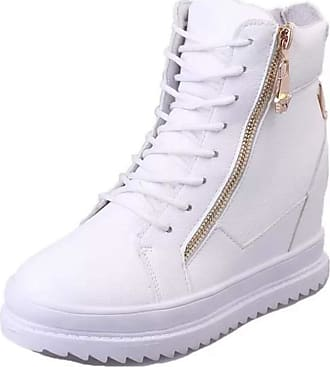 Generic Women Bootie Waterproof High Top Lace up Platform Casual Shoes Winter Plush Warm Ladies Wedge Zip Ankle Boots White