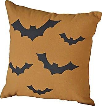 VHC Brands Harvest & Thanksgiving Holiday Pillows & Throws - Halloween Bats Orange 12 x 12 Pillow