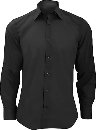 Russell Athletic Russell Collection Mens Long Sleeve Poly-Cotton Easy Care Tailored Poplin Shirt (3XL) (Black)