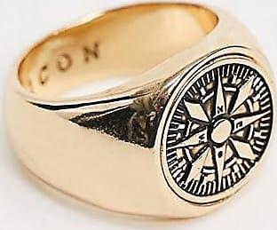 Icon Brand Anello a sigillo con dettaglio a bussola oro