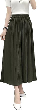 ZongSen Womens High Waist Plus Size Wide Pleated Leg Plain Trousers Pleated Bell-Bottoms Cropped Chiffon Pants Army Green L