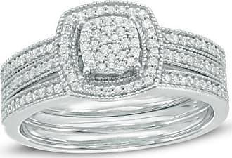 Zales 1/3 CT. T.w. Composite Diamond Square Frame Three Piece Bridal Set in 10K White Gold