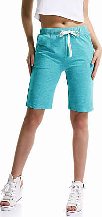 OCHENTA Womens Soft Knit Elastic Waist Jersey Shorts with Drawstring Lake Green UK 10-12 - Tag 2XL