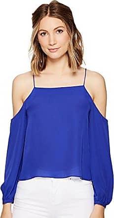 Nicole Miller Womens Silk GGT Cold Shoulder Spag Top, Blueberry/Baby, L