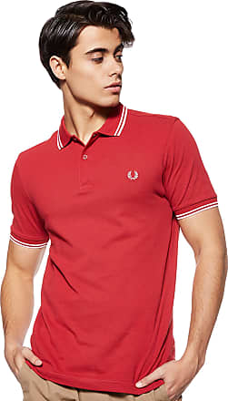 Fred Perry Mens Twin Tipped Shirt Polo, Pomegranate, S