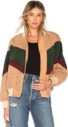 J.O.A. Colorblock Teddy Faux Fur Jacket In Beige & Forest