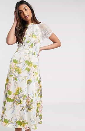 Liquorish a line lace detail midi dress in white floral print-Cream