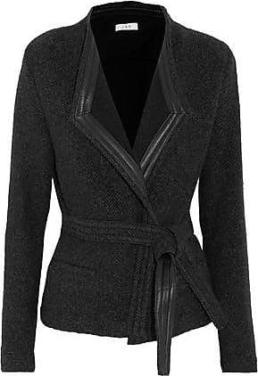 Iro Iro Woman Awa Belted Leather-trimmed Wool-blend Jacket Charcoal Size 36