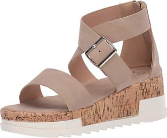 Yoki Womens BRENDA-59 Wedge Sandal, Beige, 5