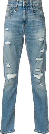 R13 ripped slim fit jeans - Azul