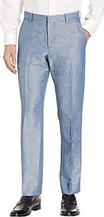 Perry Ellis Mens Portfolio Modern Fit Linen Blend Pants, Blueprint 32x30