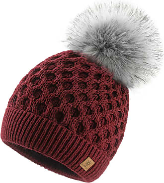 4sold Ladies Chunky Soft Cable Knit Handmade Woman Hat Cosy Fleece Liner and Bobble Faux Fur Pom pom (LORA Burgundy)