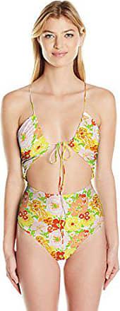 Lolli Womens Kelly Knit V-Neck Halter One Piece Swimsuit