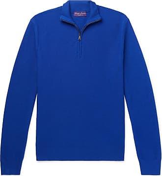 Ralph Lauren Purple Label Slim-fit Wool And Cashmere-blend Piqué Half-zip Sweater - Blue