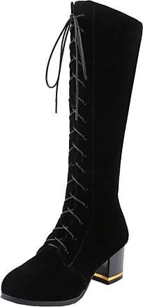 RAZAMAZA Women Fashion Mid Heel Biker Boots Zipper Knee Boots Block Heels Tall Boots with Lace Up Black-RongMian Size 35 Asian