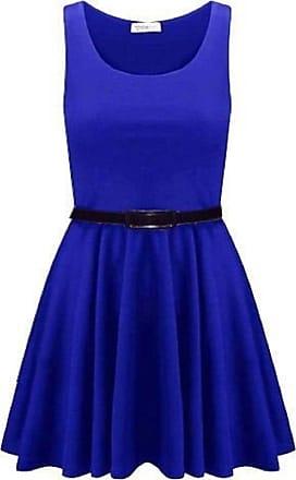 Momo & Ayat Fashions Ladies Belted Pleated Plus Size Franki Skater Dress Royal Blue