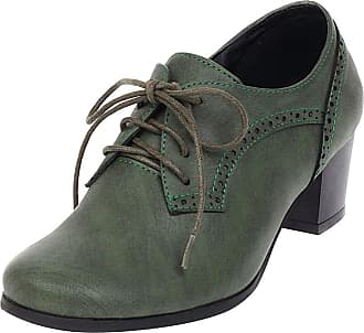 Mediffen Women Block Heels Classic Lace Up Round Toe Brogue Pumps Ladies Vintage Oxford Pumps Green Size 42 Asian