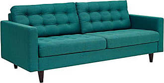 ModWay Modway Empress Mid-Century Modern Upholstered Fabric Sofa In Teal