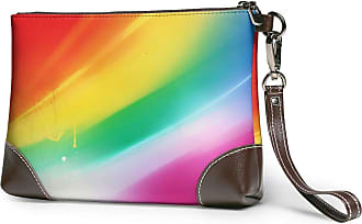 GLGFashion Womens Leather Wristlet Clutch Wallet Rainbow Color Storage Purse With Strap Zipper Pouch