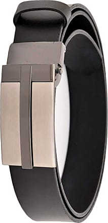 Decalen Mens Leather Belt Black 1.3 Wide for All Trousers Waist Size 34 to 52 In with Automatic Buckle (Waist 34- 36 90cm, Black 2)