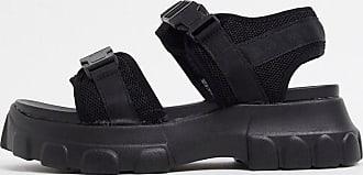 Truffle sporty flatform buckle sandals in black