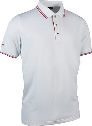 Glenmuir Mens MSP7422 Herringbone Tipped Performance Pique Polo Shirt-White/Garnet-X-Large