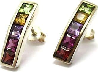 Boreale Joias Brinco Prata 925 Ear Cuff Com Pedras Natuais Rainbow