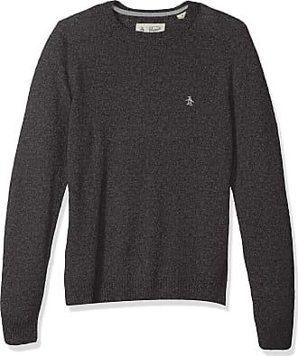 Original Penguin Mens Solid Lambswool Crew Sweater, Dark Charcoal Heather, XL