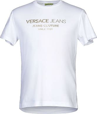 VERSACE JEANS T-Shirt Hommes colonnes en Blanc RRP 90 £