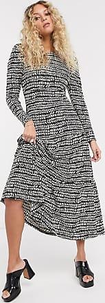 Topshop tiered midi dress in black